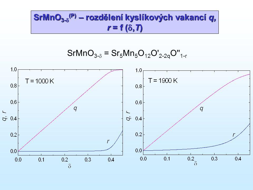 SrMnO 3-  (P) – rozdělení kyslíkových vakancí q, r = f ( ,T) SrMnO 3-  = Sr 5 Mn 5 O 12 O' 2-2q O'' 1-r