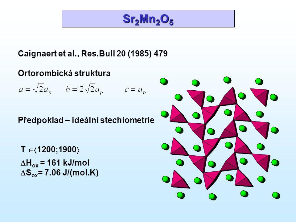 Sr 2 Mn 2 O 5 Předpoklad – ideální stechiometrie Caignaert et al., Res.Bull 20 (1985) 479 Ortorombická struktura T  1200;1900   H ox = 161 kJ/mol