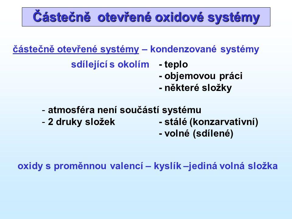Částečně otevřené oxidové systémy částečně otevřené systémy – kondenzované systémy sdílející s okolím- teplo - objemovou práci - některé složky - atmosféra není součástí systému - 2 druky složek- stálé (konzarvativní) - volné (sdílené) oxidy s proměnnou valencí – kyslík –jediná volná složka