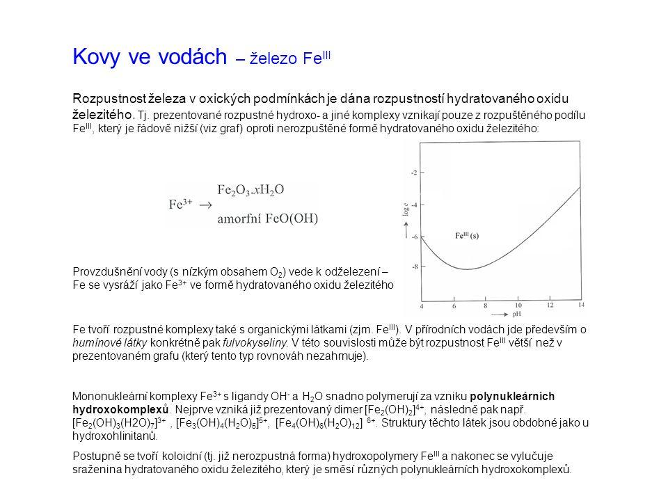 Kovy ve vodách – železo Fe V nádržích a rybnících dochází k vertikální stratifikaci železa – v období letní a zimní stagnace se ve spodních vrstvách u dna hromadí rozpuštěné i nerozpuštěné formy Fe v koncentraci až desítek mg.l -1.