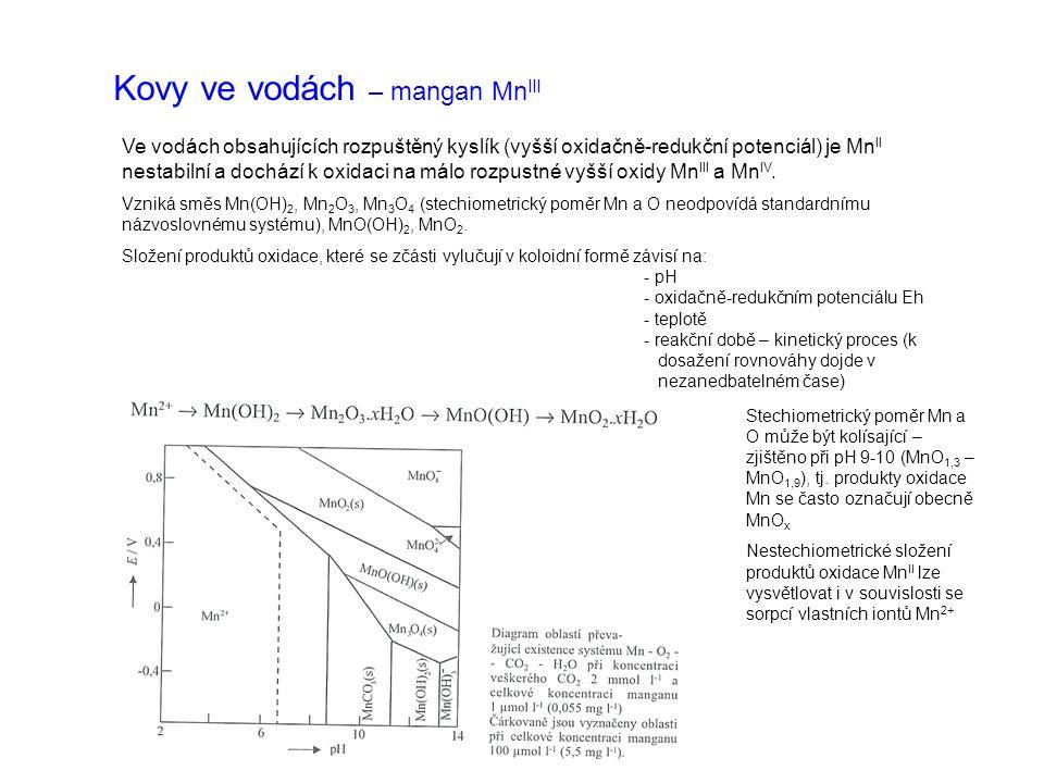 Kovy ve vodách – mangan Mn III Ve vodách obsahujících rozpuštěný kyslík (vyšší oxidačně-redukční potenciál) je Mn II nestabilní a dochází k oxidaci na málo rozpustné vyšší oxidy Mn III a Mn IV.