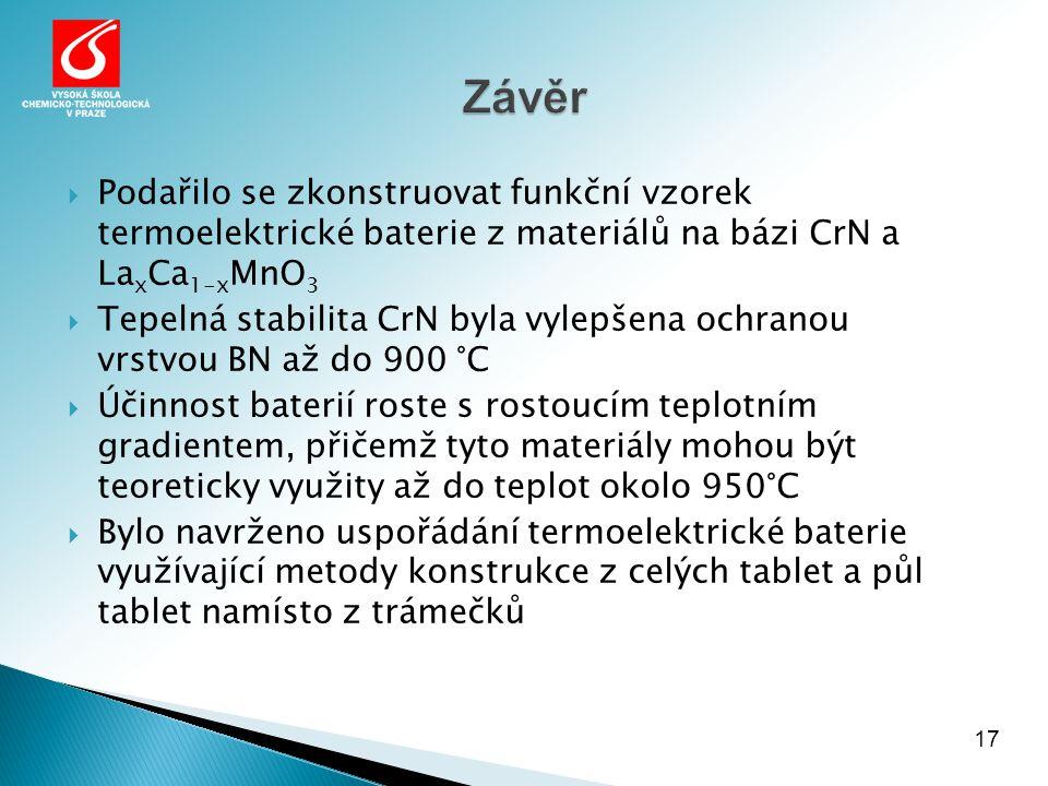  Podařilo se zkonstruovat funkční vzorek termoelektrické baterie z materiálů na bázi CrN a La x Ca 1-x MnO 3  Tepelná stabilita CrN byla vylepšena o