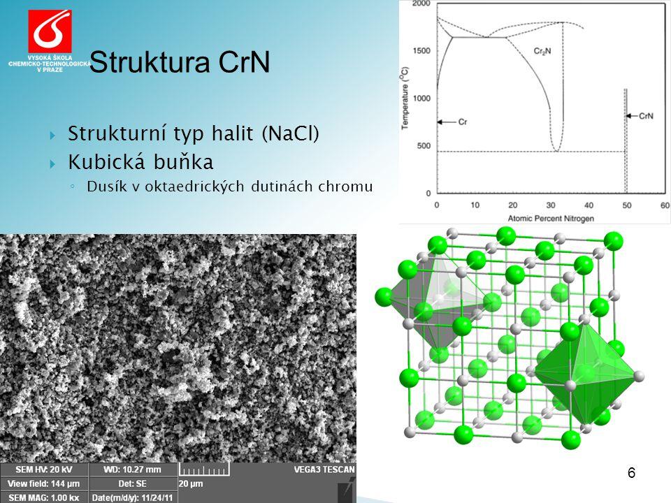  Strukturní typ halit (NaCl)  Kubická buňka ◦ Dusík v oktaedrických dutinách chromu 6 Struktura CrN