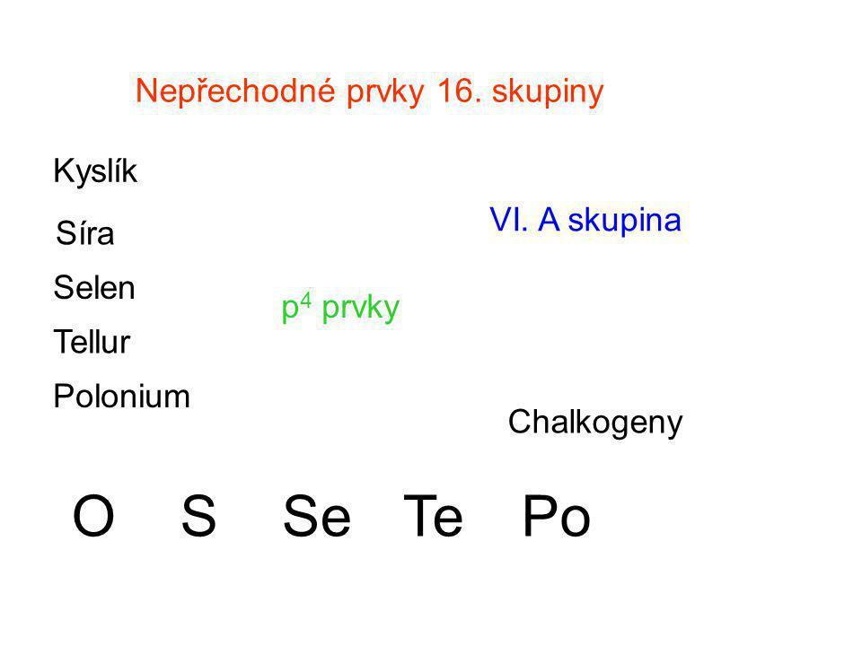 Nepřechodné prvky 16. skupiny p 4 prvky VI. A skupina Chalkogeny Kyslík Síra Selen Tellur Polonium OSSeTePo