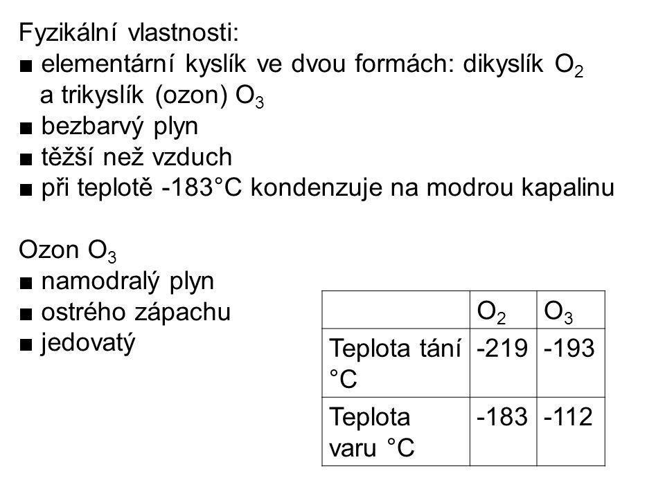 Fyzikální vlastnosti: ■ elementární kyslík ve dvou formách: dikyslík O 2 a trikyslík (ozon) O 3 ■ bezbarvý plyn ■ těžší než vzduch ■ při teplotě -183°