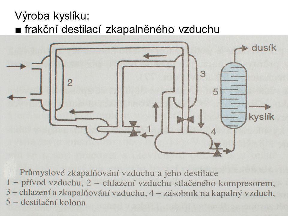 Výroba kyslíku: ■ frakční destilací zkapalněného vzduchu