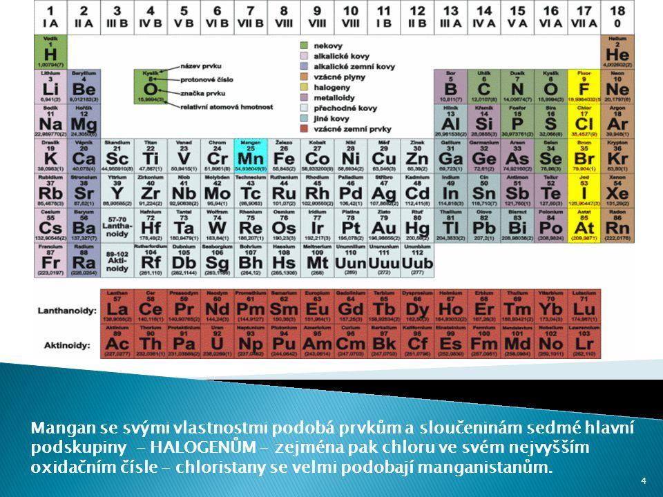 Mangan se svými vlastnostmi podobá prvkům a sloučeninám sedmé hlavní podskupiny - HALOGENŮM - zejména pak chloru ve svém nejvyšším oxidačním čísle - c