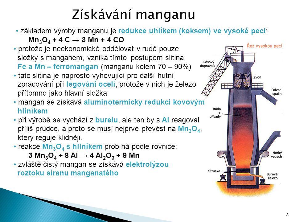 Mn 3 O 4 + 4 C → 3 Mn + 4 CO protože je neekonomické oddělovat v rudě pouze složky s manganem, vzniká tímto postupem slitina Fe a Mn – ferromangan (ma