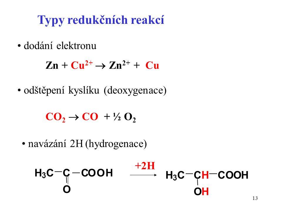 13 Typy redukčních reakcí dodání elektronu Zn + Cu 2+  Zn 2+ + Cu odštěpení kyslíku (deoxygenace) CO 2  CO + ½ O 2 navázání 2H (hydrogenace) H 3 CC