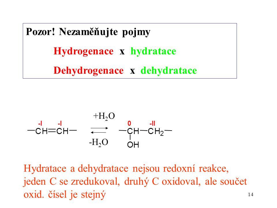 14 Pozor! Nezaměňujte pojmy Hydrogenace x hydratace Dehydrogenace x dehydratace CHCH -I -II CHCH 2 OH 0 +H 2 O Hydratace a dehydratace nejsou redoxní