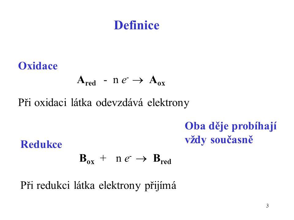 3 Oxidace A red - n e -  A ox Při oxidaci látka odevzdává elektrony Redukce B ox + n e -  B red Při redukci látka elektrony přijímá Oba děje probíha