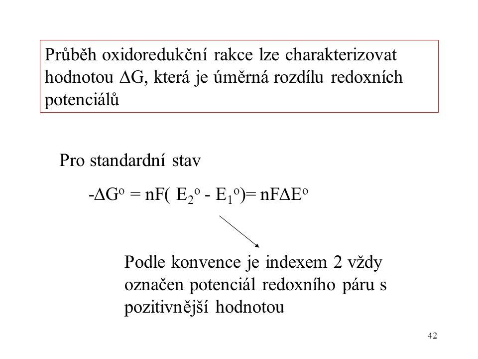 42 -  G o = nF( E 2 o - E 1 o )= nF  E o Podle konvence je indexem 2 vždy označen potenciál redoxního páru s pozitivnější hodnotou Pro standardní st
