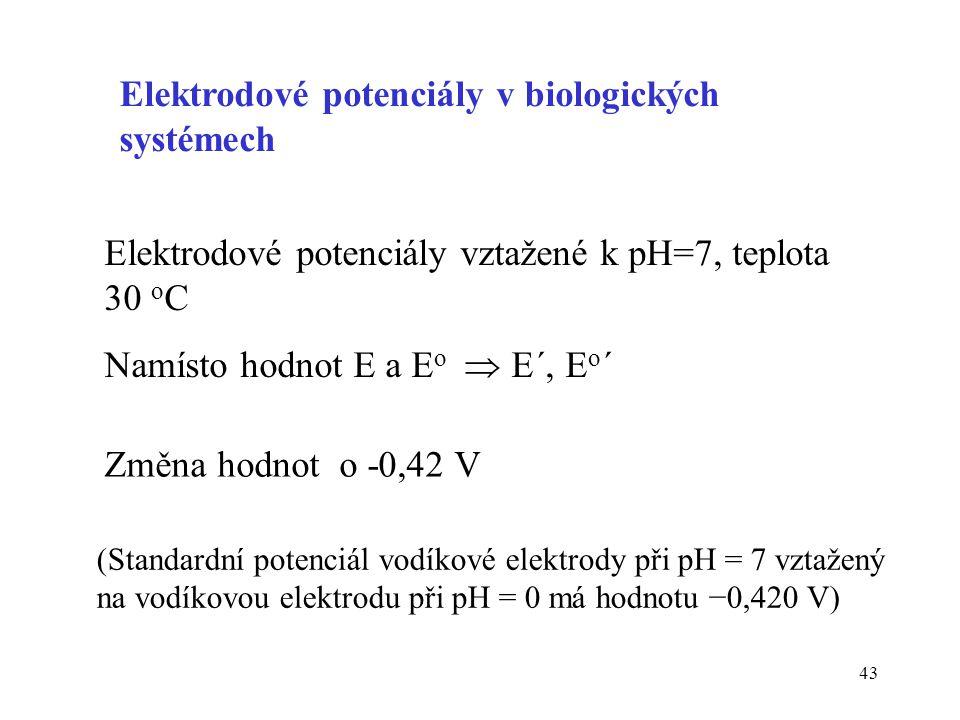 43 Elektrodové potenciály vztažené k pH=7, teplota 30 o C Namísto hodnot E a E o  E´, E o ´ Změna hodnot o -0,42 V Elektrodové potenciály v biologick