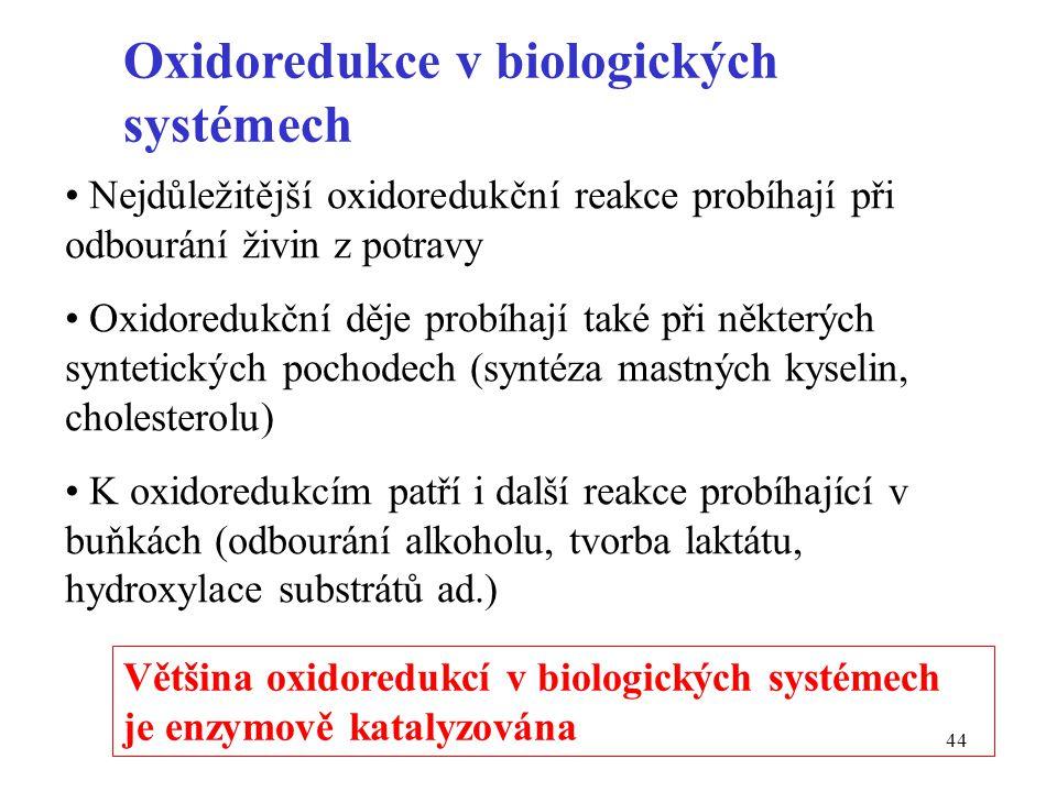 44 Oxidoredukce v biologických systémech Nejdůležitější oxidoredukční reakce probíhají při odbourání živin z potravy Oxidoredukční děje probíhají také