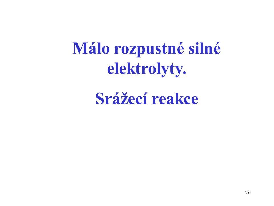 76 Málo rozpustné silné elektrolyty. Srážecí reakce