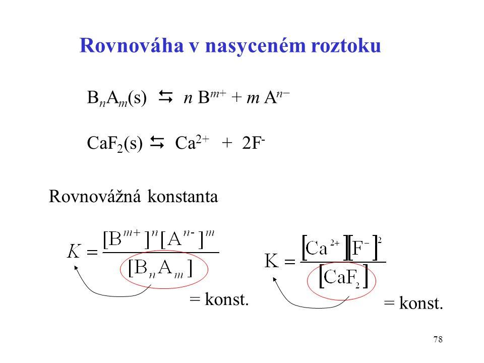 78 Rovnováha v nasyceném roztoku B n A m (s)  n B m+ + m A n− CaF 2 (s)  Ca 2+ + 2F - Rovnovážná konstanta = konst.