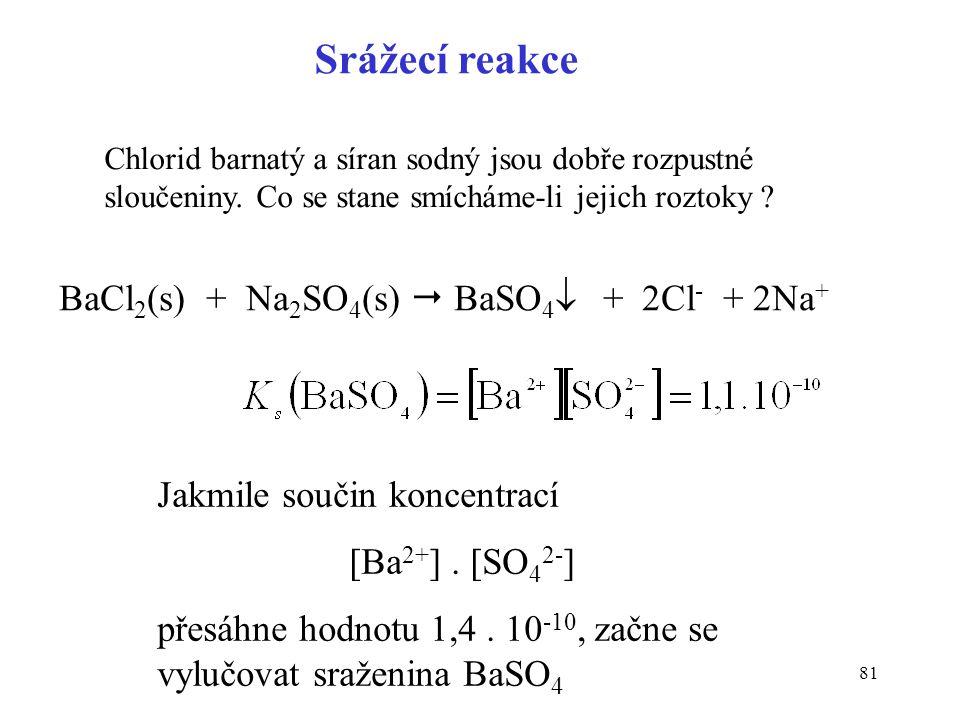 81 Chlorid barnatý a síran sodný jsou dobře rozpustné sloučeniny. Co se stane smícháme-li jejich roztoky ? BaCl 2 (s) + Na 2 SO 4 (s)  BaSO 4  + 2Cl
