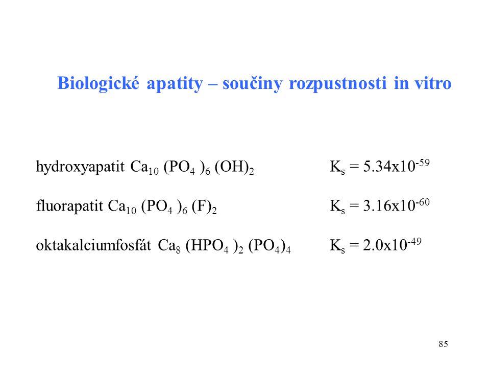 85 hydroxyapatit Ca 10 (PO 4 ) 6 (OH) 2 K s = 5.34x10 -59 fluorapatit Ca 10 (PO 4 ) 6 (F) 2 K s = 3.16x10 -60 oktakalciumfosfát Ca 8 (HPO 4 ) 2 (PO 4