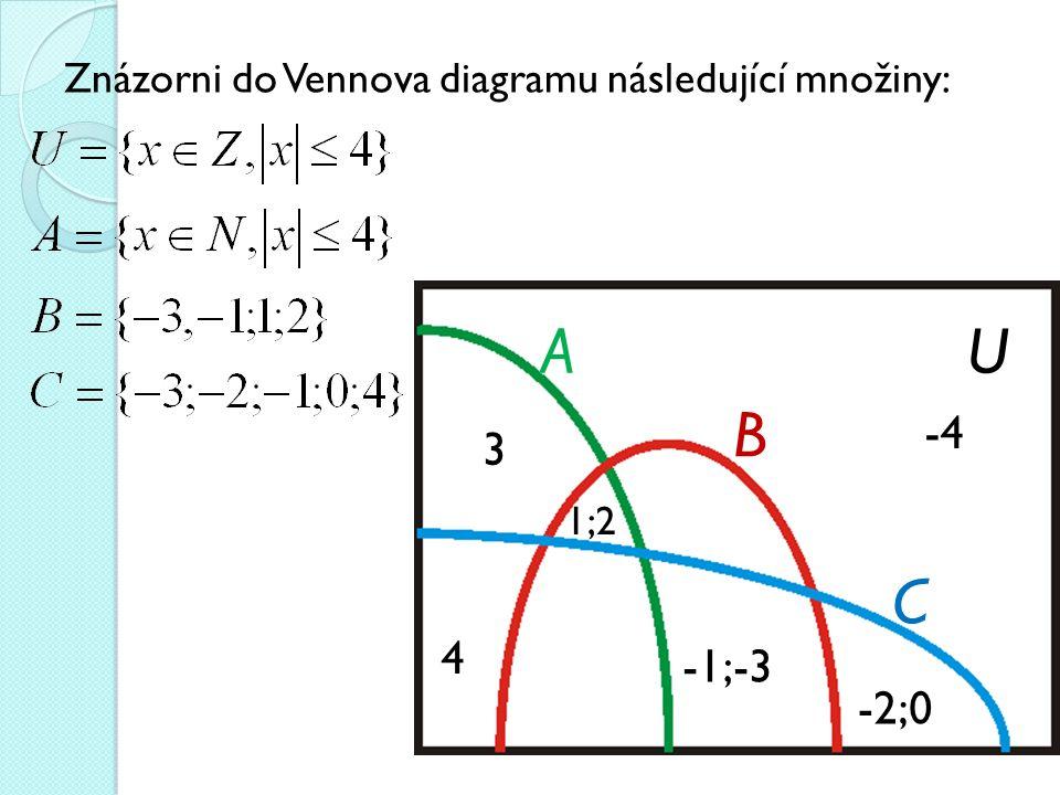 Znázorni do Vennova diagramu následující množiny: UA B C 3 1;2 4 -1;-3 -2;0 -4