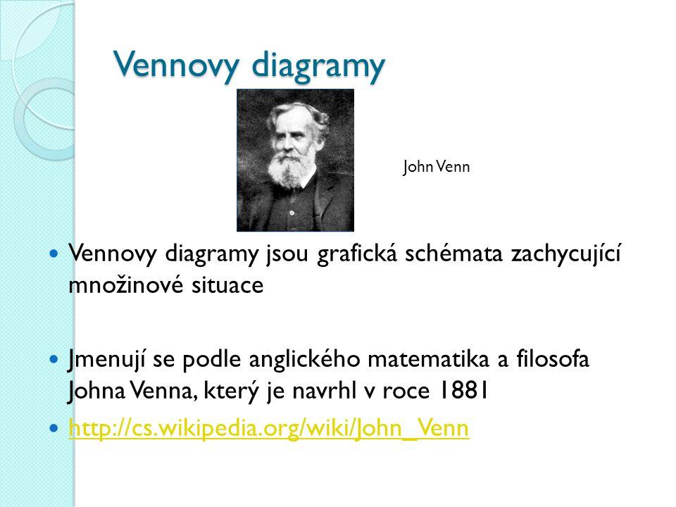 Vennovy diagramy Vennovy diagramy jsou grafická schémata zachycující množinové situace Jmenují se podle anglického matematika a filosofa Johna Venna,