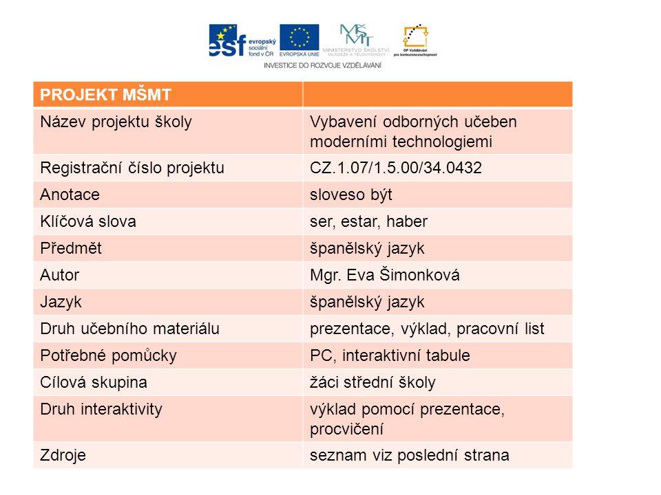 PROJEKT MŠMT Název projektu školyVybavení odborných učeben moderními technologiemi Registrační číslo projektuCZ.1.07/1.5.00/34.0432 Anotacesloveso být