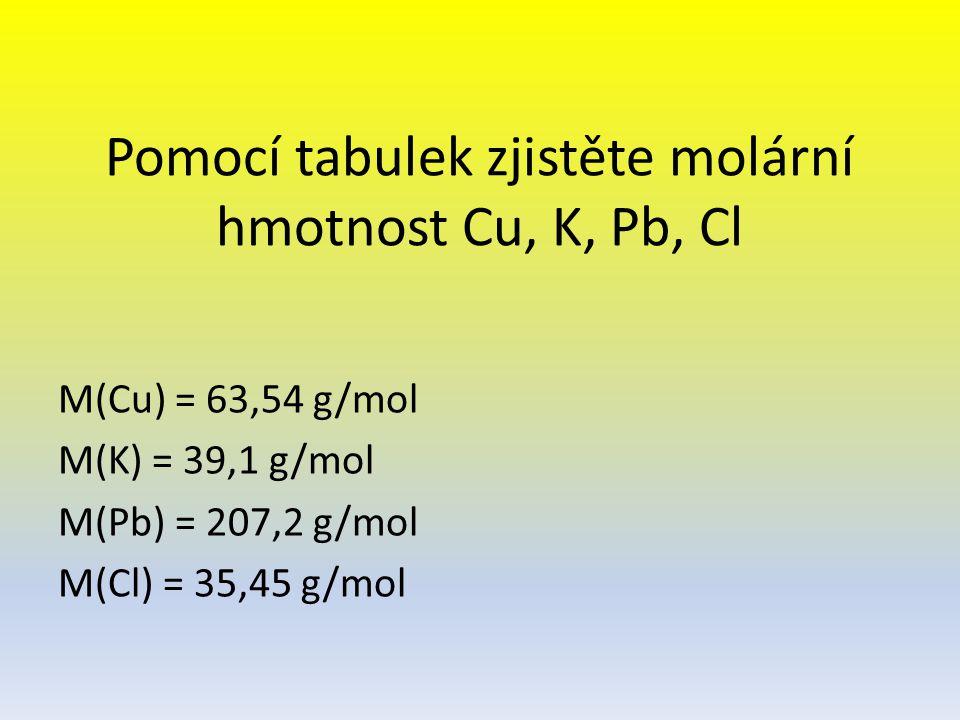 Pomocí tabulek zjistěte molární hmotnost Cu, K, Pb, Cl M(Cu) = 63,54 g/mol M(K) = 39,1 g/mol M(Pb) = 207,2 g/mol M(Cl) = 35,45 g/mol