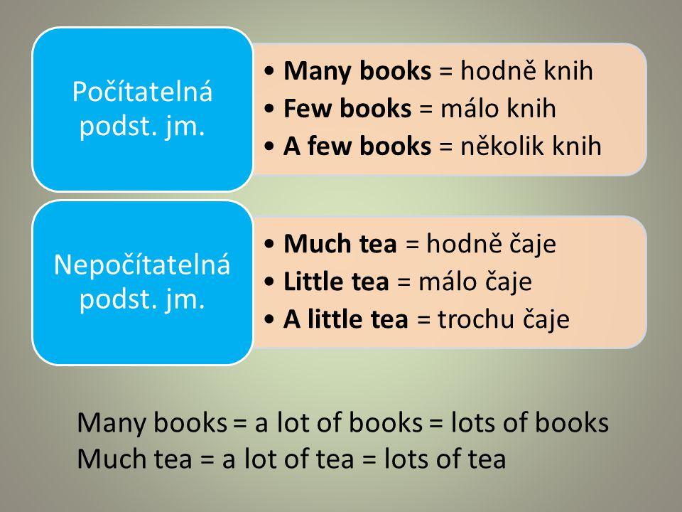 Many books = hodně knih Few books = málo knih A few books = několik knih Počítatelná podst.