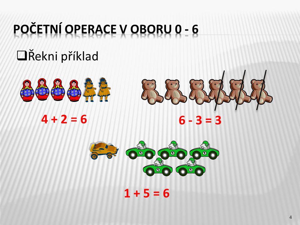 4 + 2 = 6 6 - 3 = 3 1 + 5 = 6 4  Řekni příklad