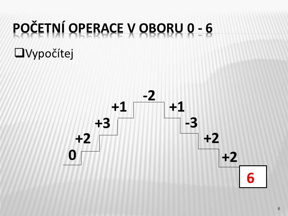 3 + 3 =5 + 1 = 4 – 4 = 2 + 4 = 6 – 5 =6 + 0 = 6 – 2 = 2 + 3 = 4 – 3 = 6 – 1 =6 + 0 = 5 – 4 = 7 6 6 5 1 6 1 1 6 0 5 4 6