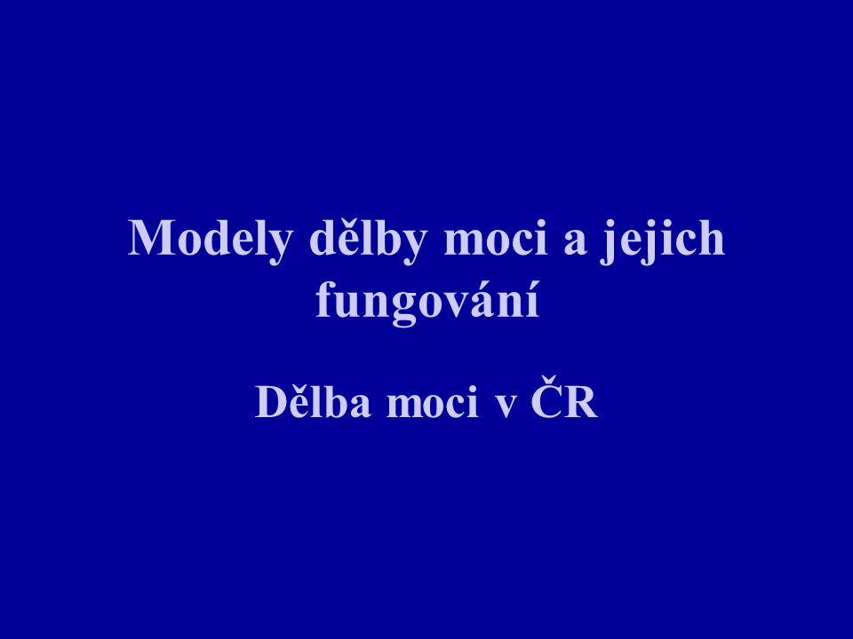 Modely dělby moci a jejich fungování Dělba moci v ČR