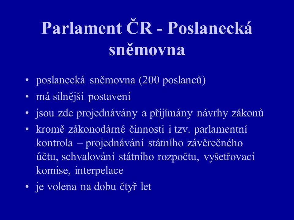Parlament ČR - Poslanecká sněmovna poslanecká sněmovna (200 poslanců) má silnější postavení jsou zde projednávány a přijímány návrhy zákonů kromě záko