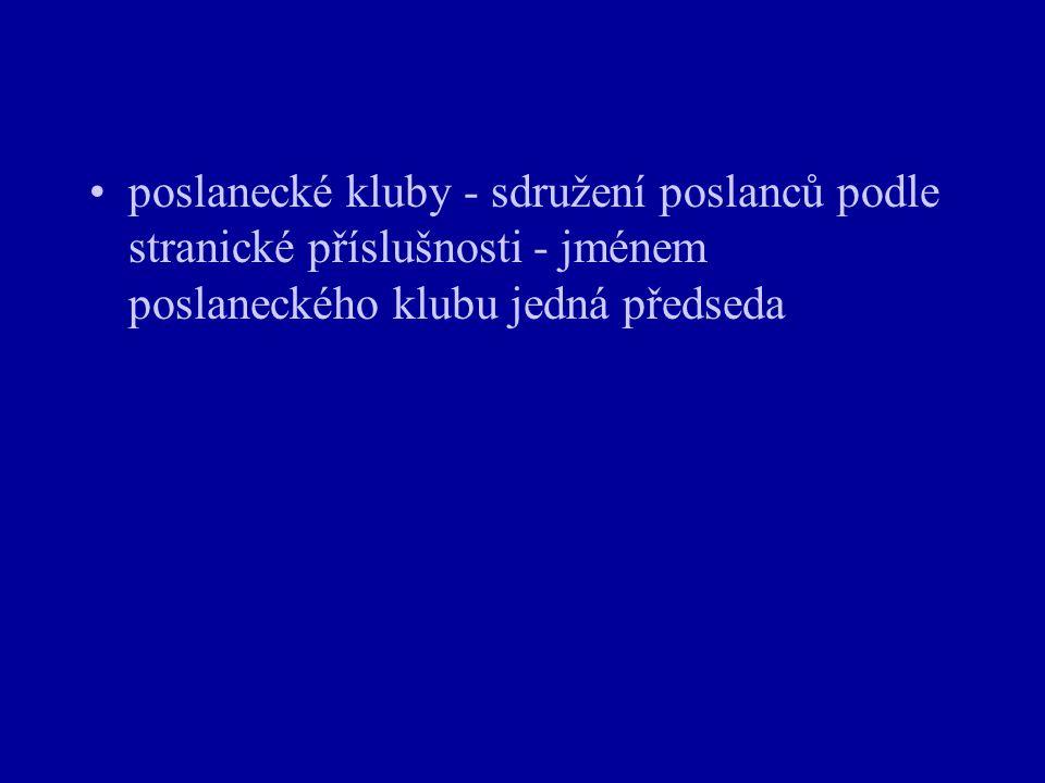 poslanecké kluby - sdružení poslanců podle stranické příslušnosti - jménem poslaneckého klubu jedná předseda