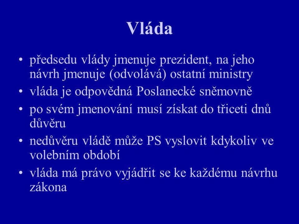 Vláda předsedu vlády jmenuje prezident, na jeho návrh jmenuje (odvolává) ostatní ministry vláda je odpovědná Poslanecké sněmovně po svém jmenování mus