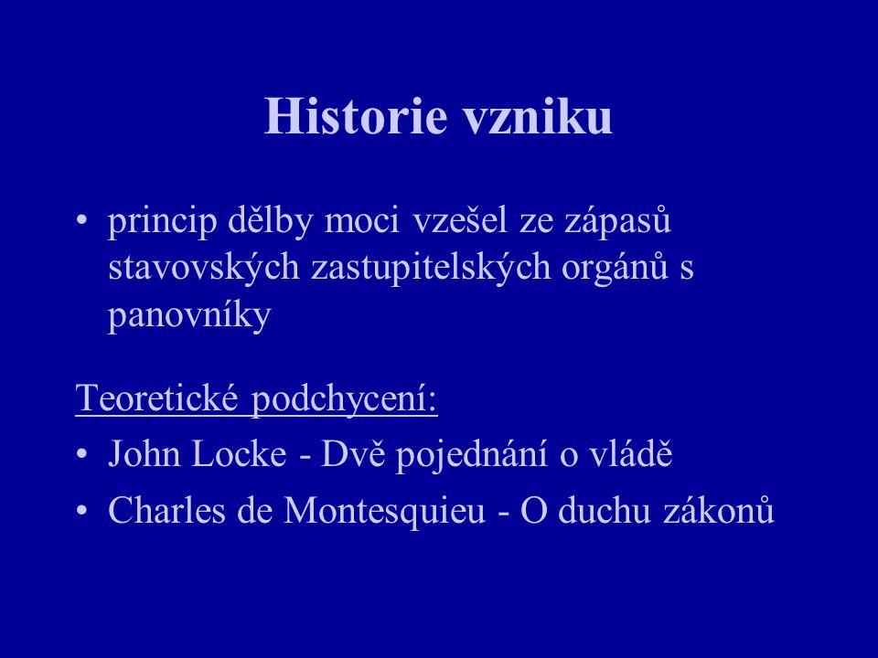 Historie vzniku princip dělby moci vzešel ze zápasů stavovských zastupitelských orgánů s panovníky Teoretické podchycení: John Locke - Dvě pojednání o