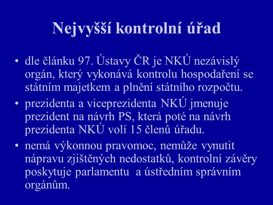 Nejvyšší kontrolní úřad dle článku 97. Ústavy ČR je NKÚ nezávislý orgán, který vykonává kontrolu hospodaření se státním majetkem a plnění státního roz