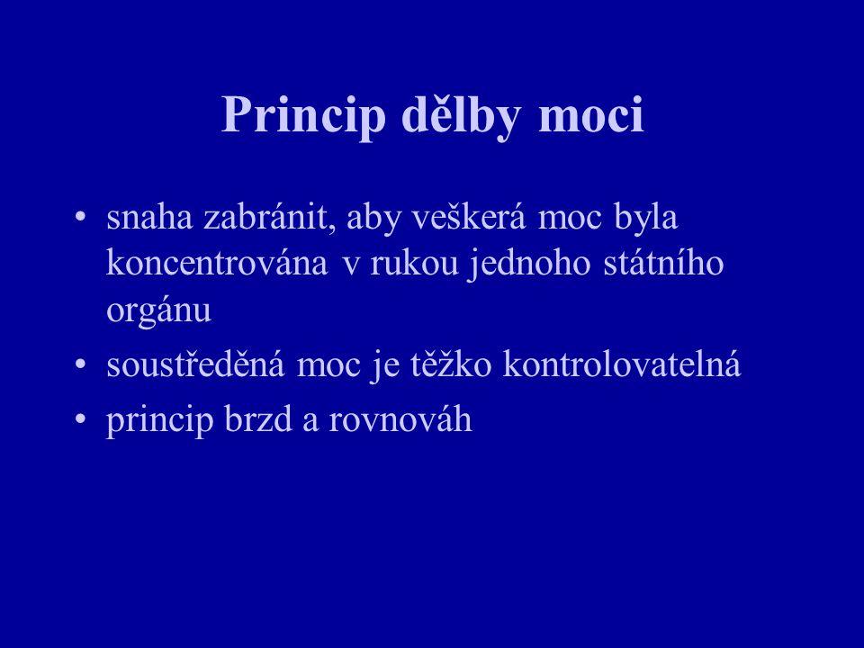 Parlament ČR - Senát Senát (81 senátorů) funguje jako brzda PS - suspenzívní veto (v některých případech je závazné - volební zákon, zákon o jednacím řádu Senátu, zákon o zásadách jednání a styku obou komor parlamentu) může přijímat zákonná opatření (při rozpuštění sněmovny) - pozbývají platnosti, pokud je nově zvolená sněmovna na první schůzi neschválí Senát není rozpustitelný - každé dva roky se obměňuje