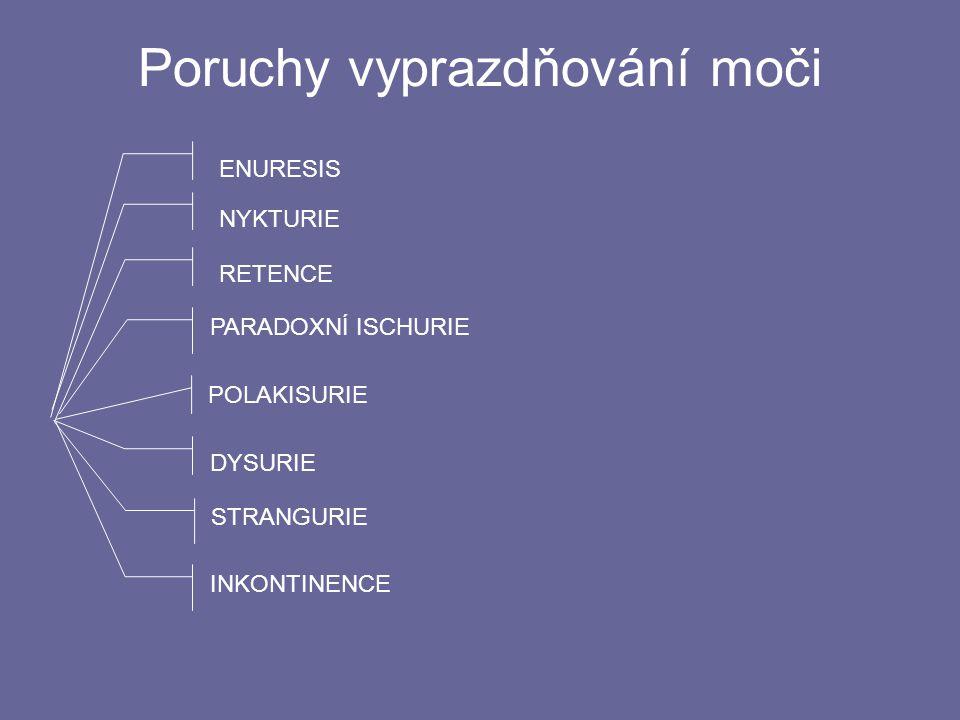Množství moči DIURÉZA = ____________________________ Poruchy tvorby moči: tvorba a vylučování moči 24 hodin POLYURIE OLIGURIE ANURIE