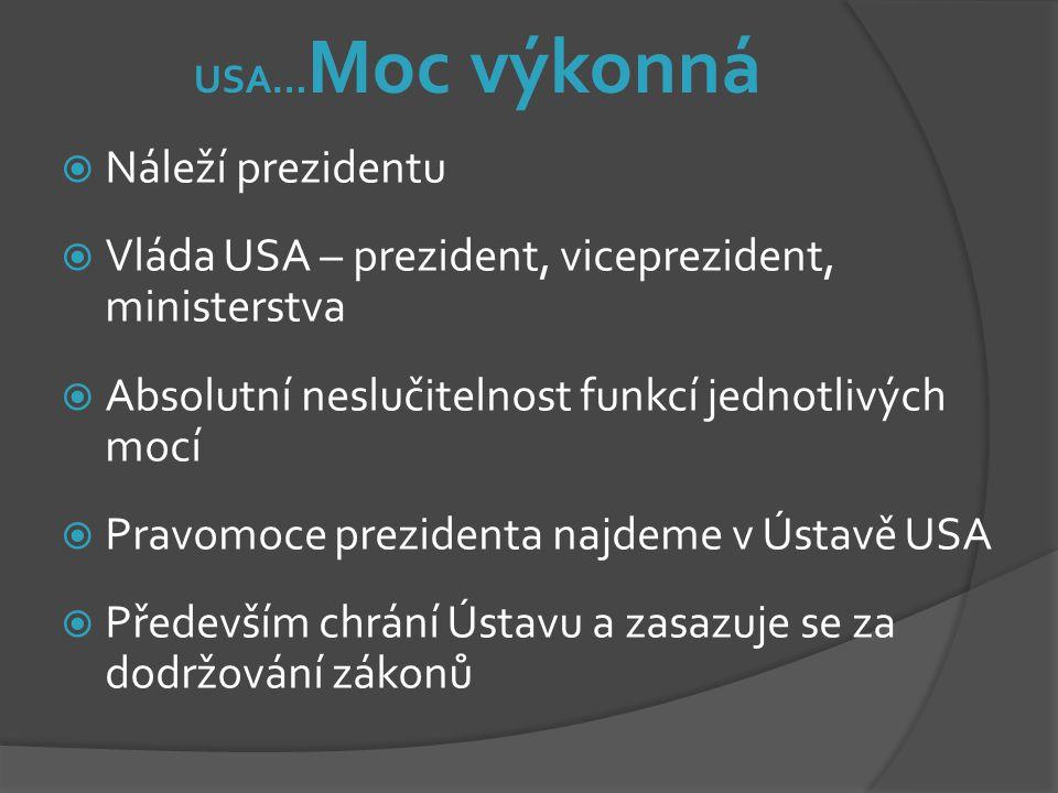 USA… Moc výkonná  Náleží prezidentu  Vláda USA – prezident, viceprezident, ministerstva  Absolutní neslučitelnost funkcí jednotlivých mocí  Pravom