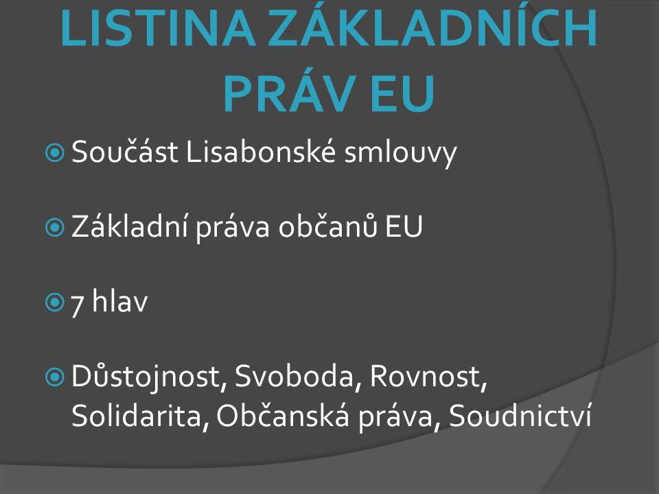 LISTINA ZÁKLADNÍCH PRÁV EU  Součást Lisabonské smlouvy  Základní práva občanů EU  7 hlav  Důstojnost, Svoboda, Rovnost, Solidarita, Občanská práva