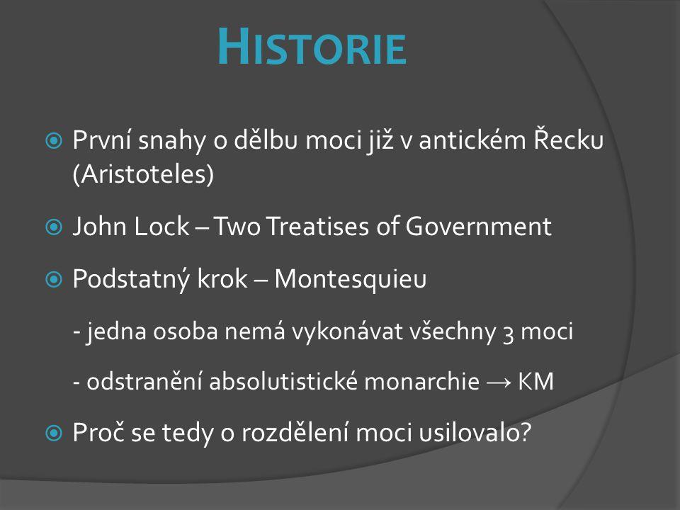 H ISTORIE  První snahy o dělbu moci již v antickém Řecku (Aristoteles)  John Lock – Two Treatises of Government  Podstatný krok – Montesquieu - jed