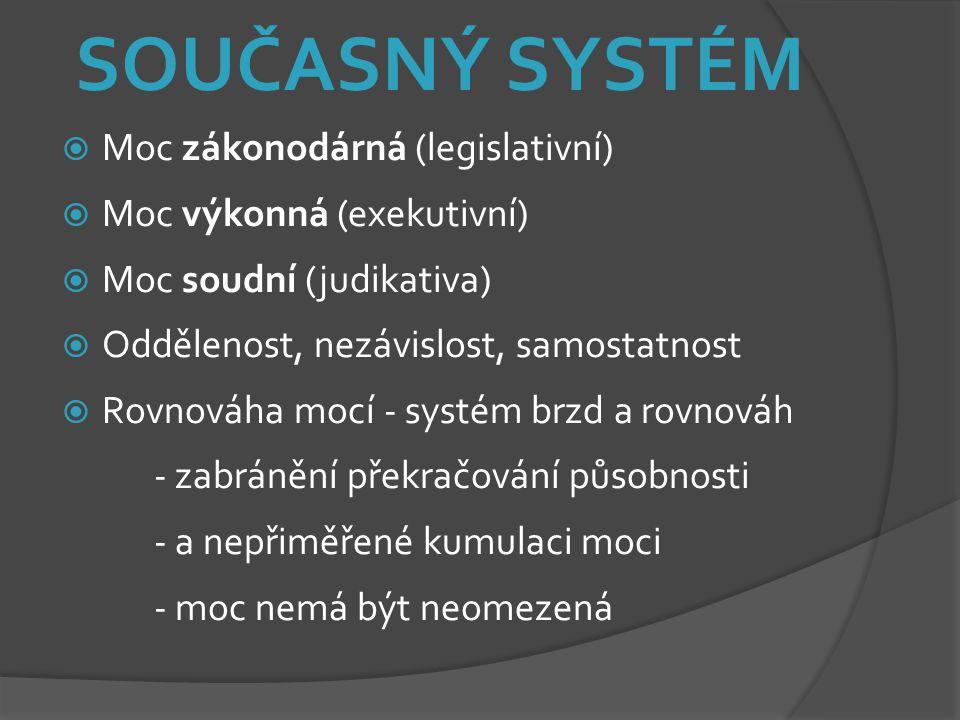 SOUČASNÝ SYSTÉM  Moc zákonodárná (legislativní)  Moc výkonná (exekutivní)  Moc soudní (judikativa)  Oddělenost, nezávislost, samostatnost  Rovnov