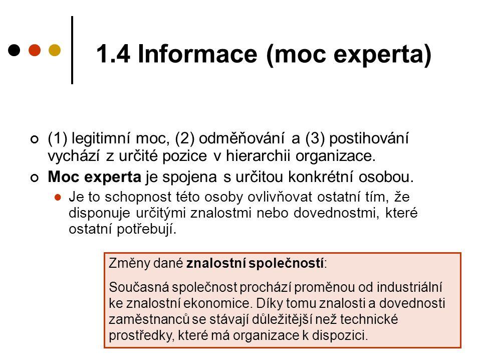 1.4 Informace (moc experta) (1) legitimní moc, (2) odměňování a (3) postihování vychází z určité pozice v hierarchii organizace. Moc experta je spojen