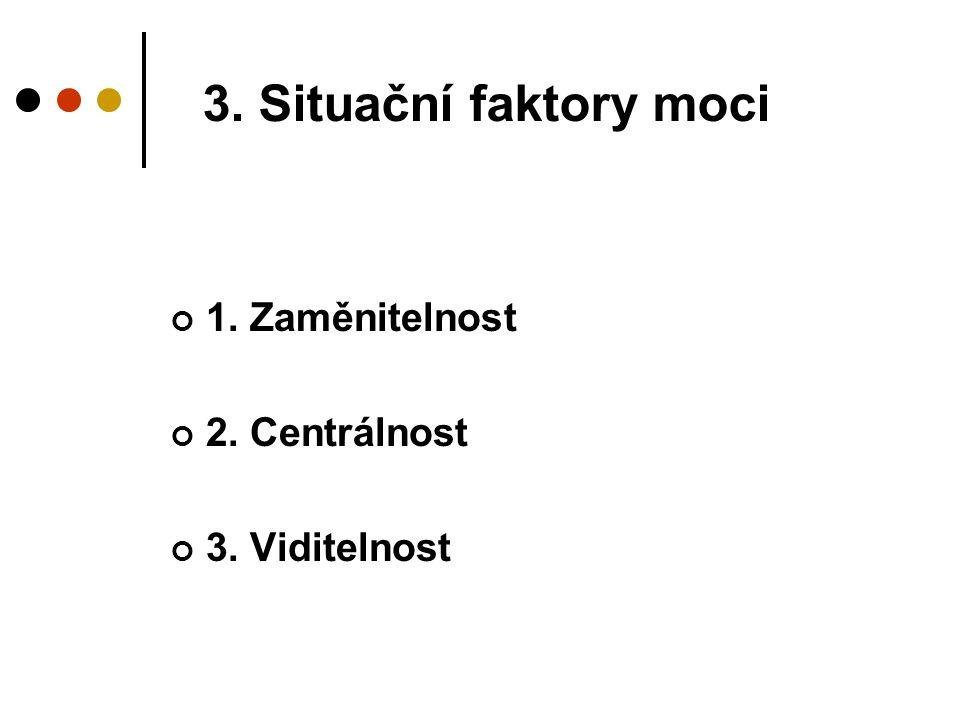 3. Situační faktory moci 1. Zaměnitelnost 2. Centrálnost 3. Viditelnost