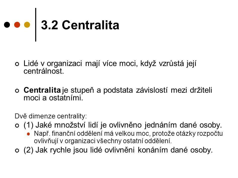 3.2 Centralita Lidé v organizaci mají více moci, když vzrůstá její centrálnost. Centralita je stupeň a podstata závislostí mezi držiteli moci a ostatn