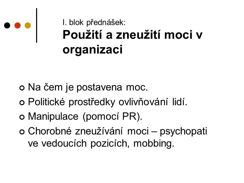 I. blok přednášek: Použití a zneužití moci v organizaci Na čem je postavena moc. Politické prostředky ovlivňování lidí. Manipulace (pomocí PR). Chorob