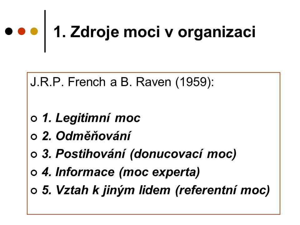 1. Zdroje moci v organizaci J.R.P. French a B. Raven (1959): 1. Legitimní moc 2. Odměňování 3. Postihování (donucovací moc) 4. Informace (moc experta)