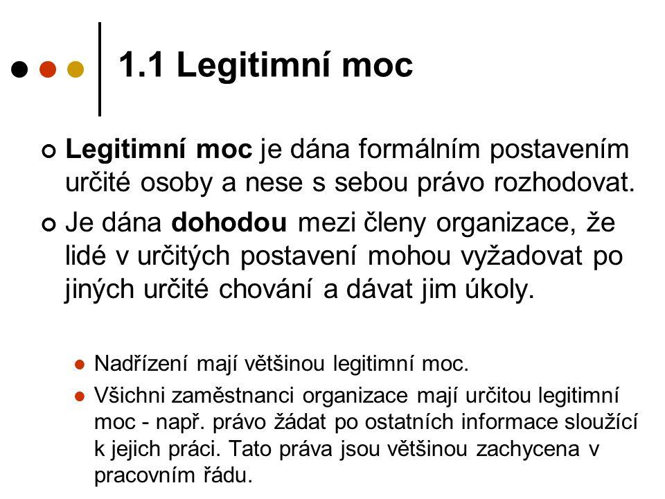 1.1 Legitimní moc Legitimní moc je dána formálním postavením určité osoby a nese s sebou právo rozhodovat. Je dána dohodou mezi členy organizace, že l