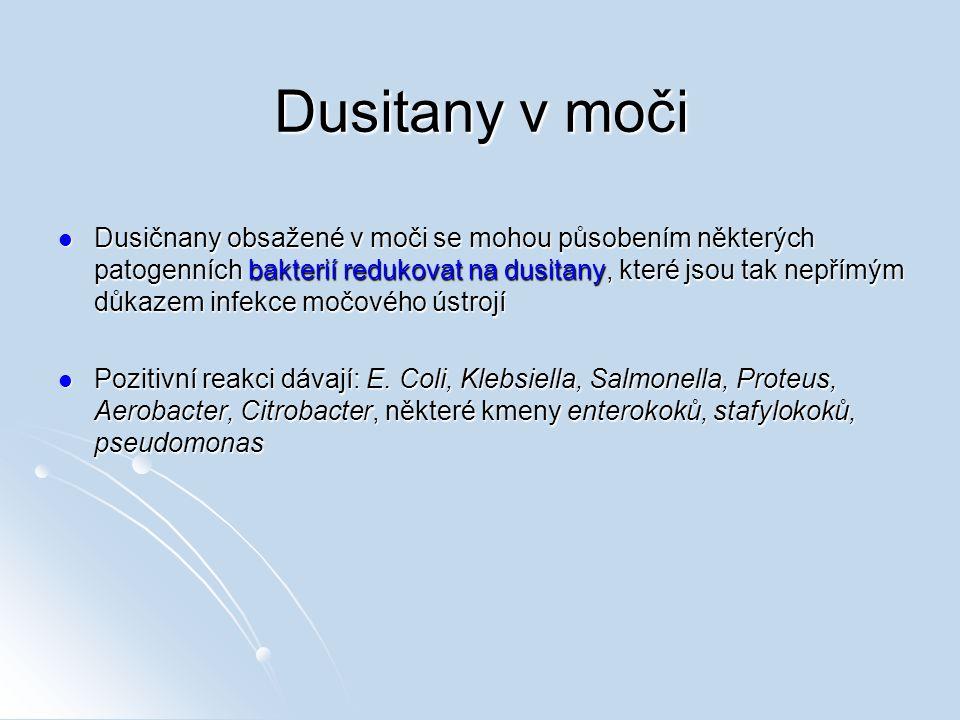 Dusitany v moči Dusičnany obsažené v moči se mohou působením některých patogenních bakterií redukovat na dusitany, které jsou tak nepřímým důkazem inf