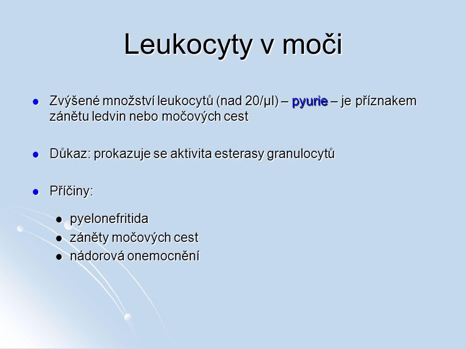 Leukocyty v moči Zvýšené množství leukocytů (nad 20/µl) – pyurie – je příznakem zánětu ledvin nebo močových cest Zvýšené množství leukocytů (nad 20/µl