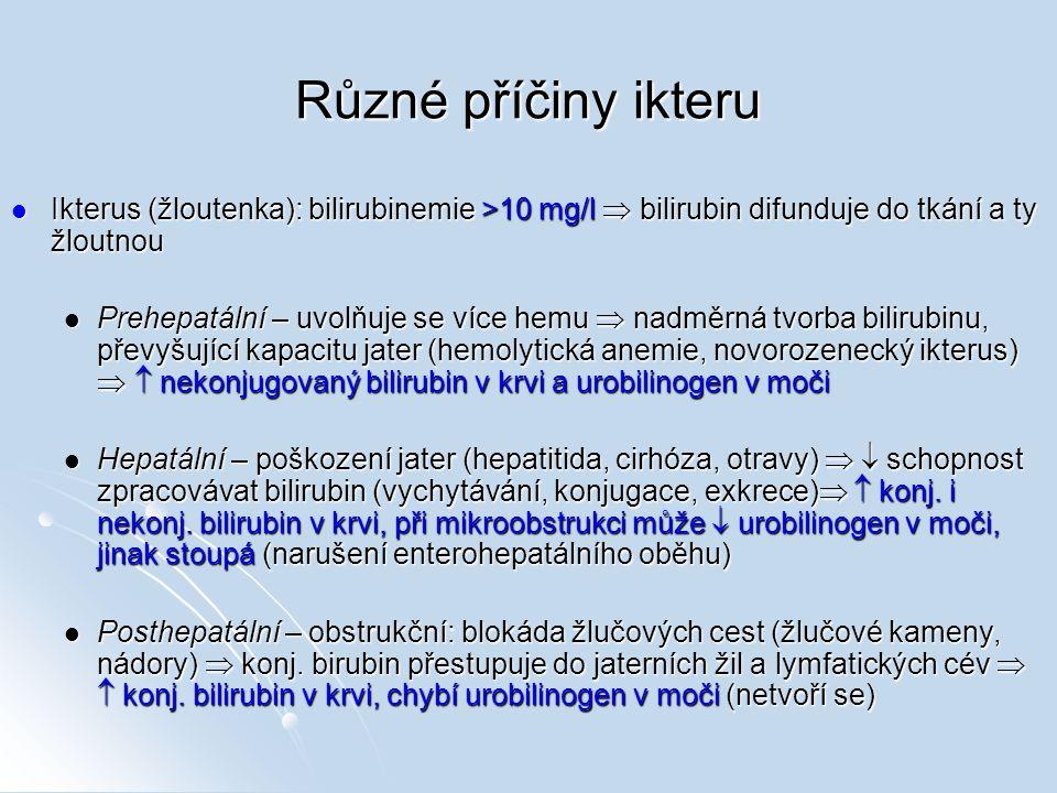 Různé příčiny ikteru Ikterus (žloutenka): bilirubinemie >10 mg/l  bilirubin difunduje do tkání a ty žloutnou Ikterus (žloutenka): bilirubinemie >10 m